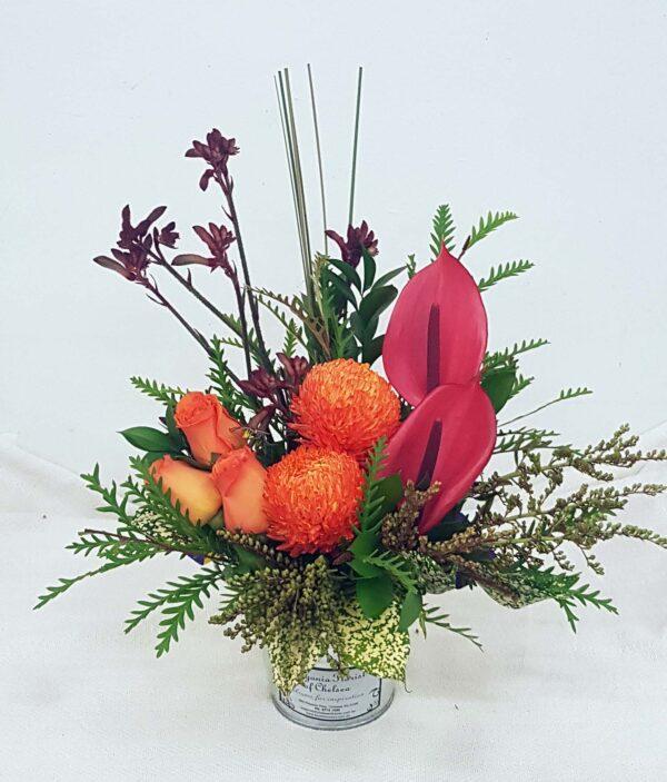 Orange Sunset - Chrysanthemum, Roses, Anthurium, Kangaroo Paw