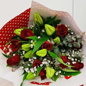 Oriental Elegance Lilly and Red Rose Bouquet