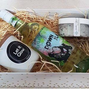 Gift box of Let it Glow Soy Candle, Green Tea and Lavender Bath Salts and Pinot Grisgio